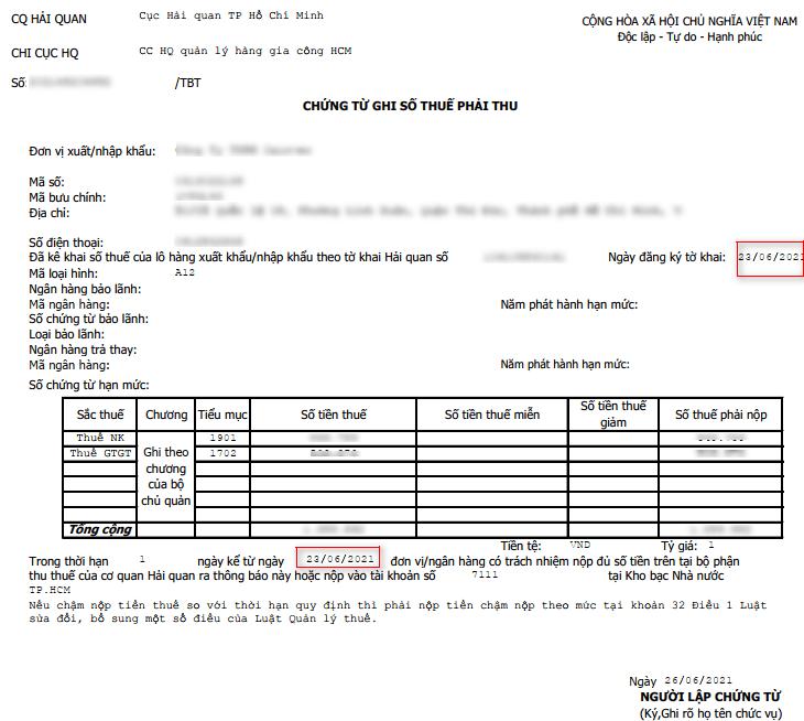 thời hạn nộp thuế tờ khai xuất nhập khẩu tờ khai xuất khau